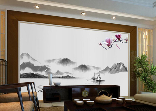 Custom papel de parede chinese landschap jade orchidee behang