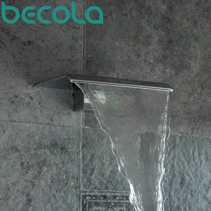 Free Shipping BECOLA Basin Faucet Spouts Shower Faucet Spouts Bathroom Faucet Accessories Wall Type Waterfall Faucet LT-301B