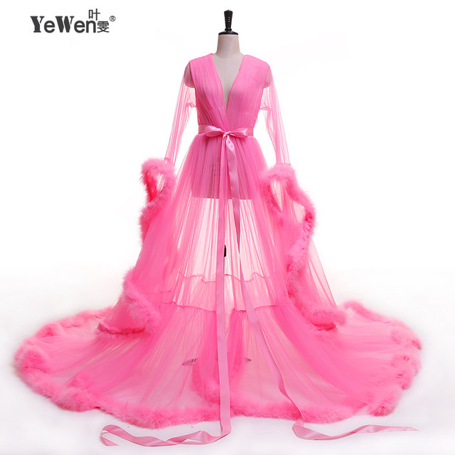 Tienda Online YeWen Vestido de festa Robe De Soiree V cuello pluma ...