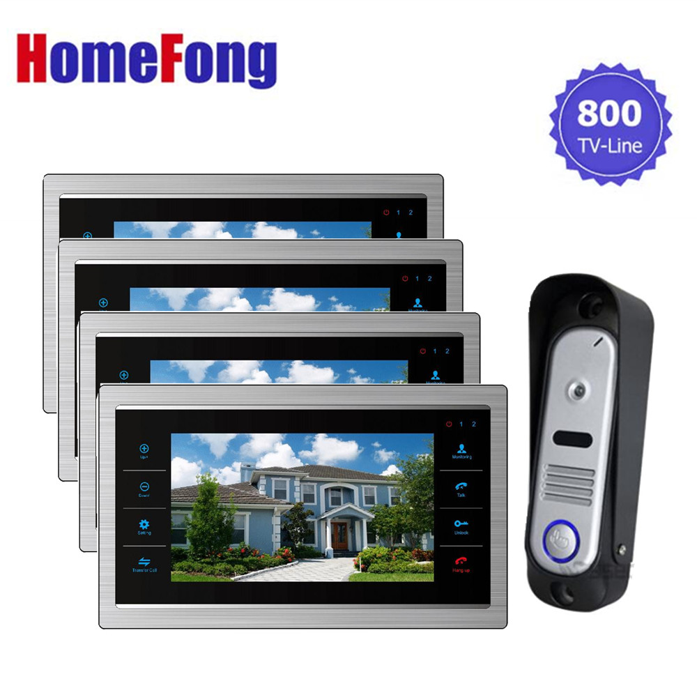Homefong video Doorbell Camera Intercom Monitor 7 inch Touch Screen 1V4 SD Card Support Dualway Talk door phone security system цена