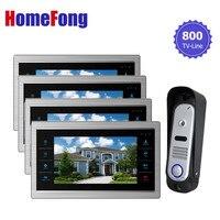 Ysecu видео звонок в дверь камеры домофонные интерком монитор 7 дюймов сенсорный экран 1V4 SD карты поддержка 3,5 полосная обсуждение двери систем