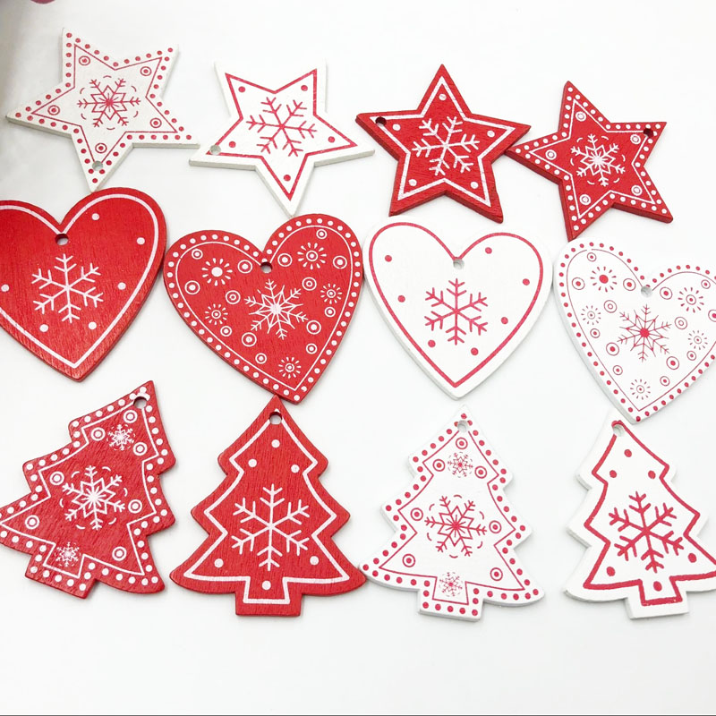 20pcs Mix White/Red Wood Merry Christmas tree Heart <font><b>Buttons</b></font> Sewing Craft WB492 image