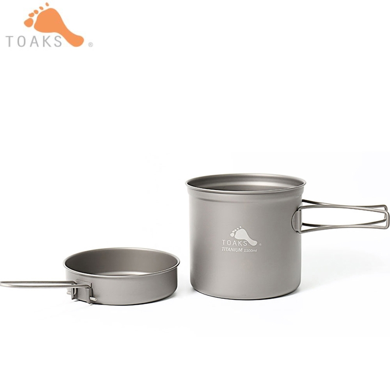 TOAKS batterie de cuisine Pot en titane ultraléger poêle Portable en plein air Camping Pot en titane bol en titane pique-nique 1100 ml CKW-1100