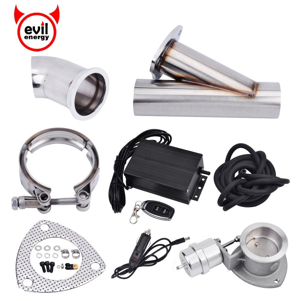 evil energy High Proformance 2.5 Inch Electric Exhaust Cutout System E-Cut Vacuum Pump Valve With Remote Y Pipe Electric Cut Out vacuum pump inlet filters f007 7 rc3 out diameter of 340mm high is 360mm