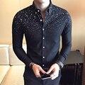 2017 Весенняя Мода Британский Стиль Рубашки Моды Цветы С Длинными рукавами Рубашки Мужские Slim Fit Повседневная Модная Мужская Одежда тонкий