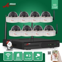 ANRAN P2P 8CH Network WIFI NVR Vandalproof Dome 30 IR 720P IP Wireless Camera Video Security