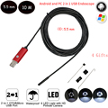 2IN1 5.5mm Lens 10m Cable Usb Endoscope Camera Android IP67 Waterproof Snake Inspection Borescope Tube Mini Android Endoscope