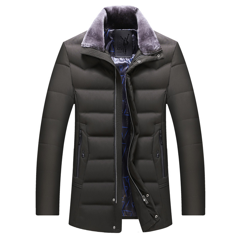 Middle age men's   down     coats   outerwear man turn   down   collar medium long thick warm winter   down   jacket 2019 new style
