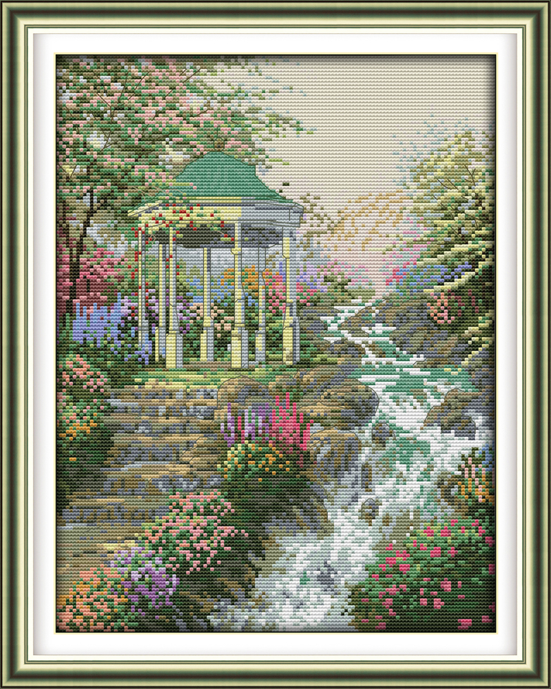 The stream gurgling cross stitch kit DIY hand embroidery set ...