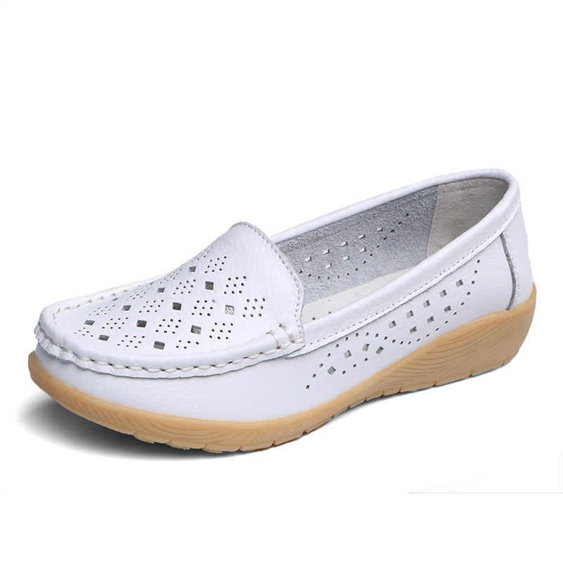 COWCOM Sommer frauen Freizeit Einzigen Schuhe Weichen Anti-skid Mutter Schuh Höhlte leinwand schuhe neue schuhe frau turnschuhe CQY-B958