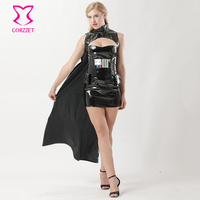 Black PVC Leather Top&Skirt With Cloak Waist Bag Warrior Outfits Cosplay Star Wars Costume Sexy Halloween Costumes For Women