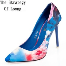 8a9ed9f845c91 Women Thin High Heels China Style Colorful Pointed Toe Sexy Pumps Lady  Fashion Blue-white