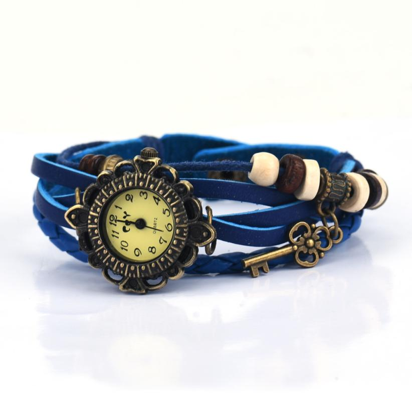 Superior Quartz Weave Around Leather Key Bracelet Lady Woman Wrist Watch July 18 Hot 2017 Newly Designed Levert Dropship HOT2017