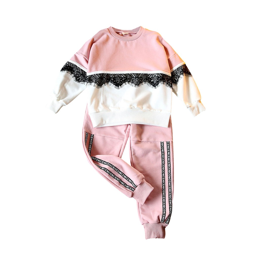 Spring fall lace embroidery baby sweat shirt tee + letter tape pants girls 2 pcs set kid tracksuit children clothes 80-130cm