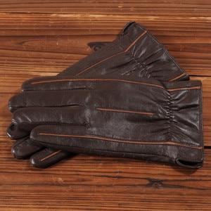 Image 3 - Gours zimowe nowe męskie oryginalne skórzane rękawiczki rękawiczki z koźlej skóry brązowe oraz aksamitne ciepła moda jazdy GSM037