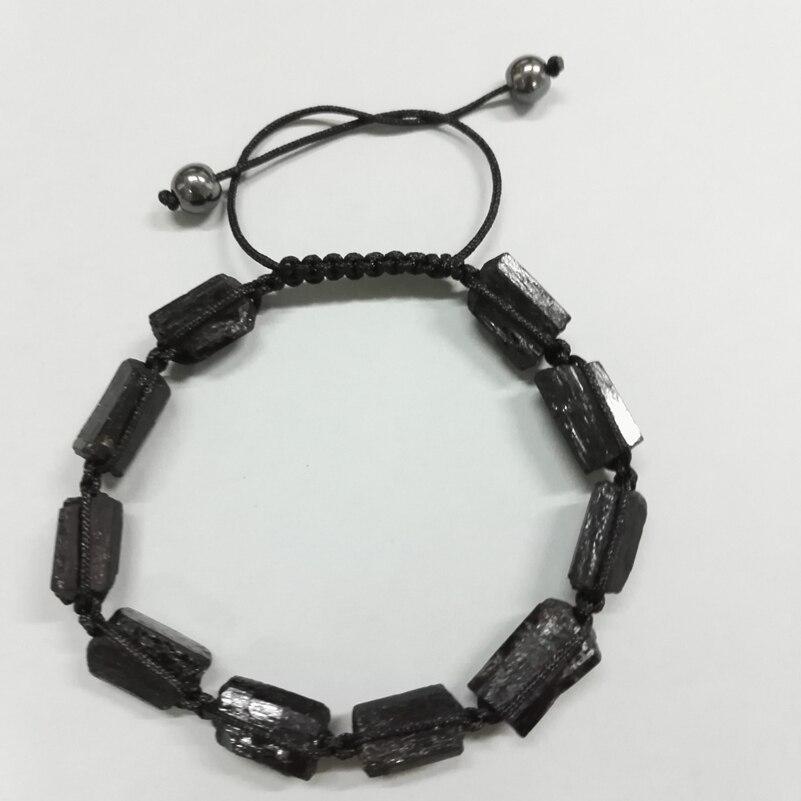 Natutal Raw Rough Black Tourmaline Beads 6mm Round Hematite Yellow Tiger Eye Stone Adjustable Macrame Unisex Healing Bracelets
