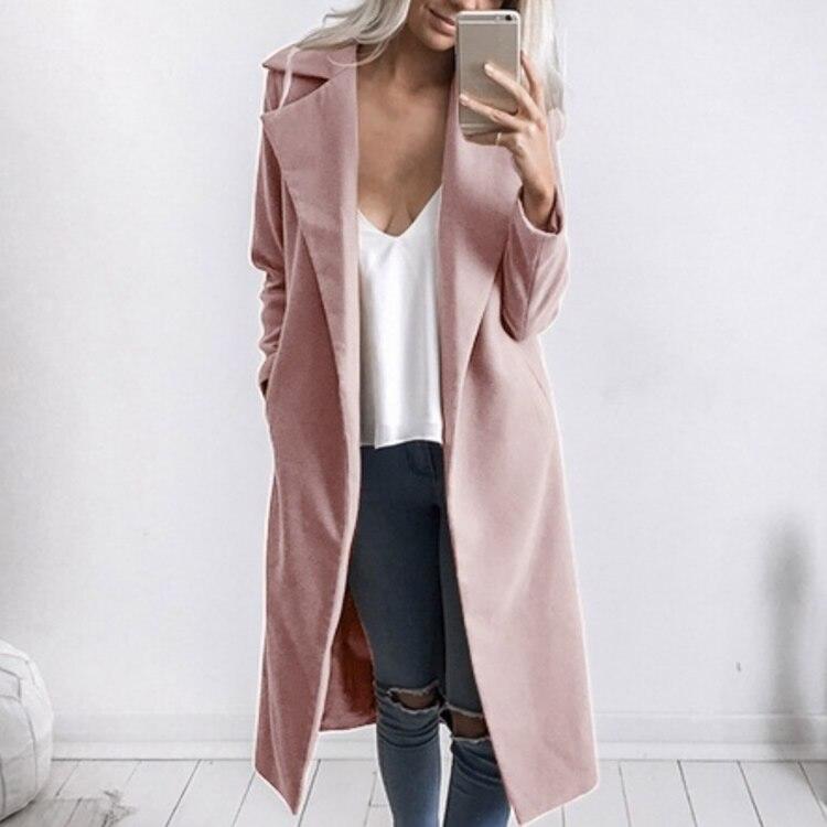 1pc Spring Autumn Women'S Wool Coat New Fashion Long Woolen Coat Single Breasted Slim Type Female Autumn Winter Wool Coats