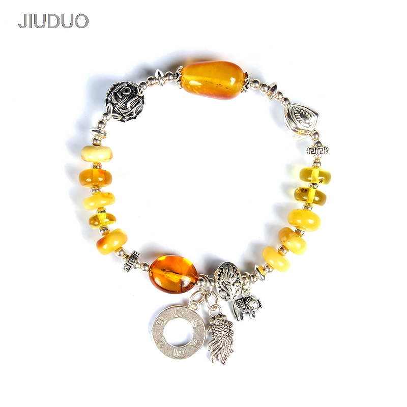 Naturel Ambre Cire D'abeille Bracelet Revers Mode Poignée 925 Sterling Argent Accessoires D'origine À La Main Bijoux