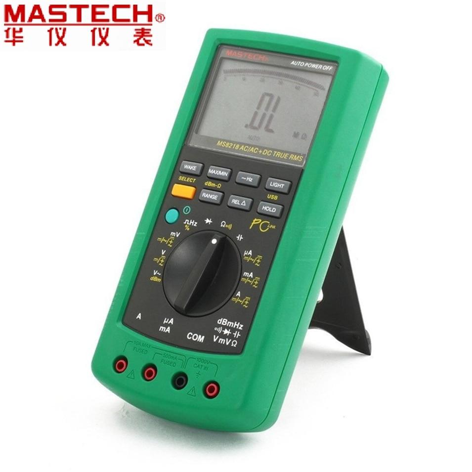 MASTECH MS8218 Digital Multimeter 50000 Counts multifunction True RMS PC USB DMM 5 1/2 Bit auto range tester Ammeter Multitester цена