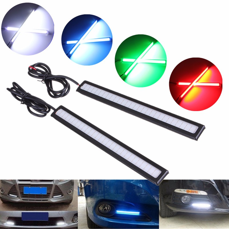 2pcs 14cm Car COB LED Daytime Running Light External Lights DRL Fog Head Lamp White/Blue/Ice Blue/Red Car Styling DC12V leadtops 2pcs waterproof cob chip led daytime running light 14 17cm led drl fog car lights car day external lights bc