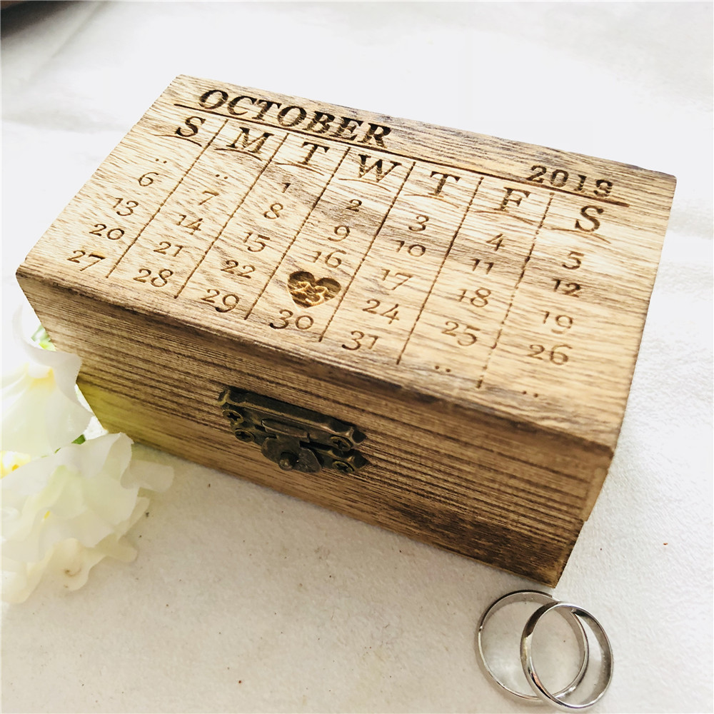 Retro Wooden Ring Box Personalized Month Date Wedding Ring Holder