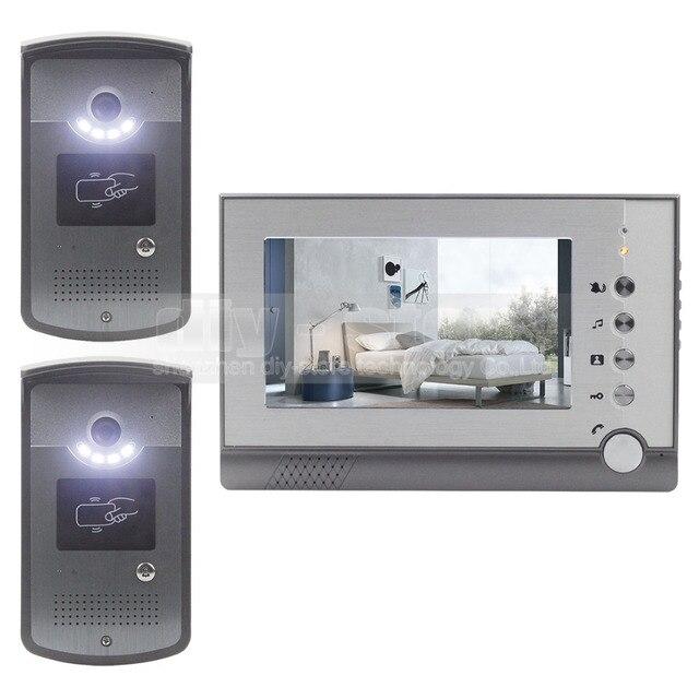 DIYSECUR 2 Camera 1 Monitor 7 inch Video Door Phone Enter Intercom Hands-free ID Unlocking LED Night Vision Camera