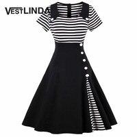 VESTLINDA Vintage Striped Buttoned Pin Up Dress Women Black White Cotton Summer Short Sleeve Dress 2017