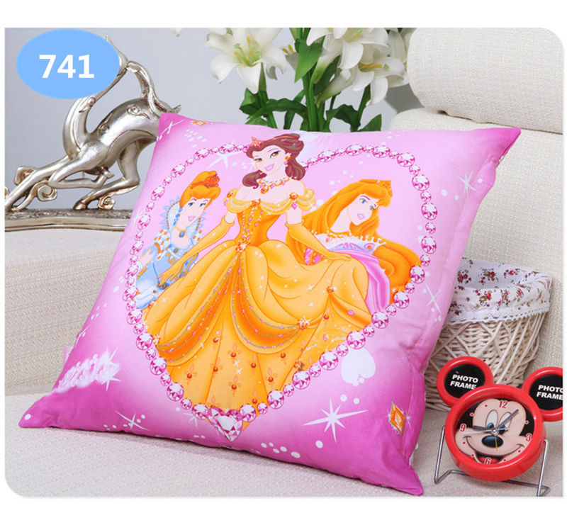 Pillow Disney Cartoon Printing Pillow Frozen Princess Mickey Mouse Donald Duck Snow White Printing Throw Pillow Bolster Square Cushion