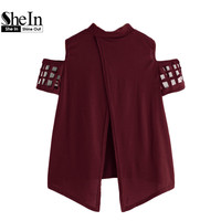 SheIn Open Shoulder Laser Cut Out Split Back Tee Burgundy T Shirts Women 2017 Summer Crew