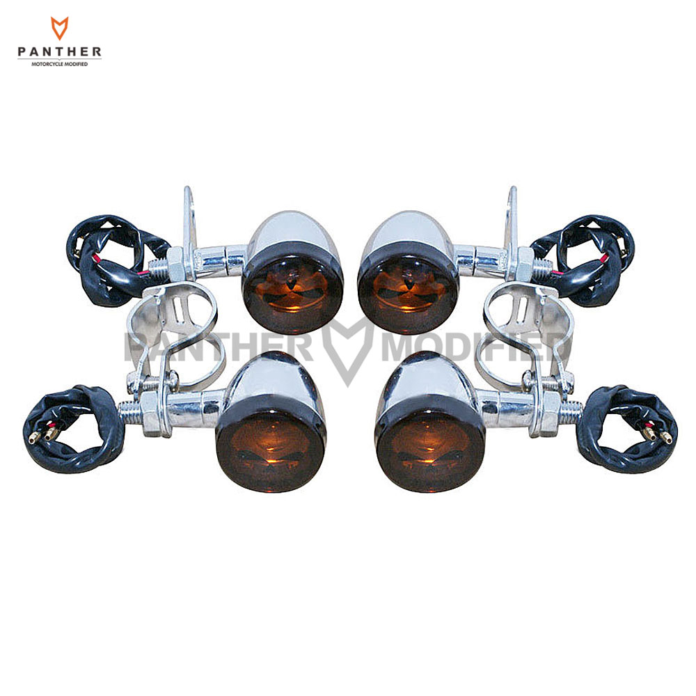ФОТО Skull Front Rear Motorcycle Turn Signals Light Fork Clamps Mount Shock Bracket Kit case for Harley Honda Yamaha Suzuki Kawasaki