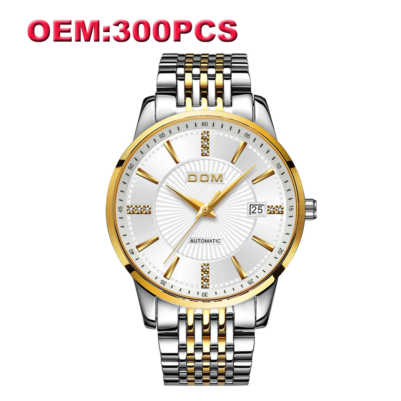 Herrenuhren Dom Kunden Ihr Eigenes Marke Uhr Einzigartige Stahl/leder Kausalen Mechanische Männer Uhren Hohe Qualität Wasserdichte Uhr Für Männer Uhren