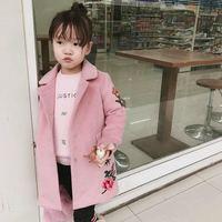 Зимняя куртка пальто для девочек детская одежда классический розовый вышивка шерсть флис пальто одежда шерстяные пальто для детская верхн