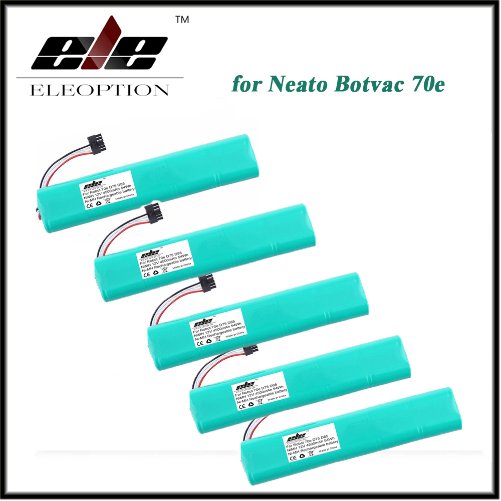 5 PCS Eleoption NI-MH 12V 4500mAh Replacement battery for Neato Botvac 70e 75 80 85 D75 D8 D85 Vacuum Cleaner battery