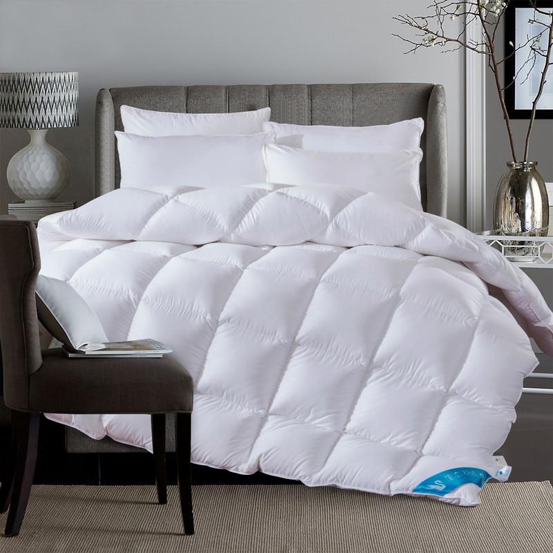 white 100 duck down duvet winter autumn stiching quilted quilt bedding throw blanket king queen. Black Bedroom Furniture Sets. Home Design Ideas
