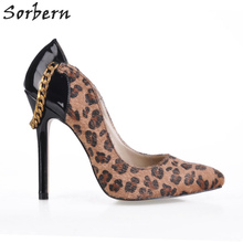 Sorbern Brown Leopard Horsehair Heel Shoes With Chain Diy Red Bottom Heels Night Club Party Shoes Sexy Ol Dress Shoes Pumps