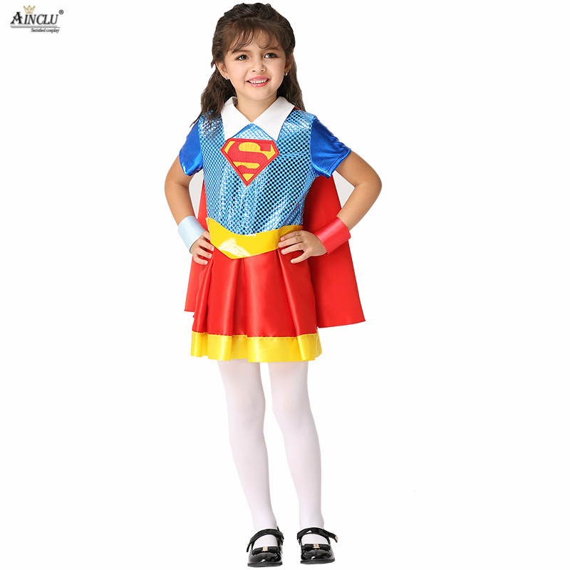 2018 Summer Kids Superman Dresses Costume Sets Cartoon Cosplay Halloween  Four-piece for Children S-XL Holiday Birthday