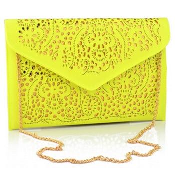FACTORY SALE 2017 cut out women shoulder bags vintage envelope bag yellow purses and handbags chain bag female ladies hand bags