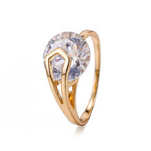 High Quality Size 5.25-9 Big Oval Zircon Ring For Women Fashion Golden Copper Ring Wedding Female Charm Jewelry Accessories(China)