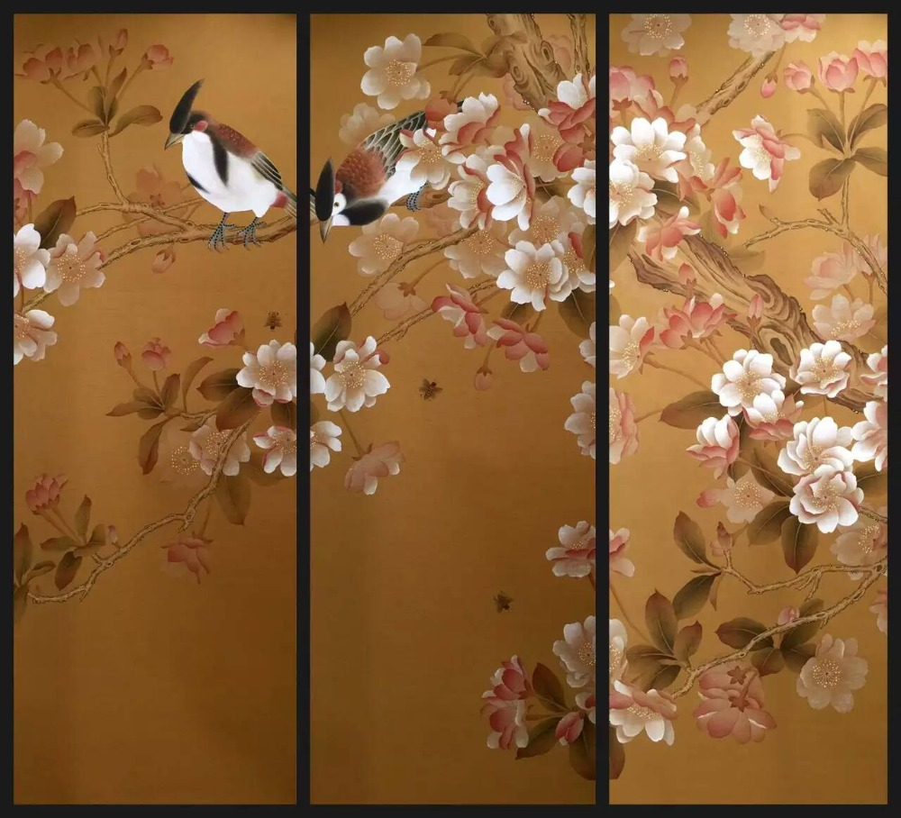 Hot sales Classic elegant Hand-painted silk wallpaper painting  flower with bird wallcovering many arts and background optional