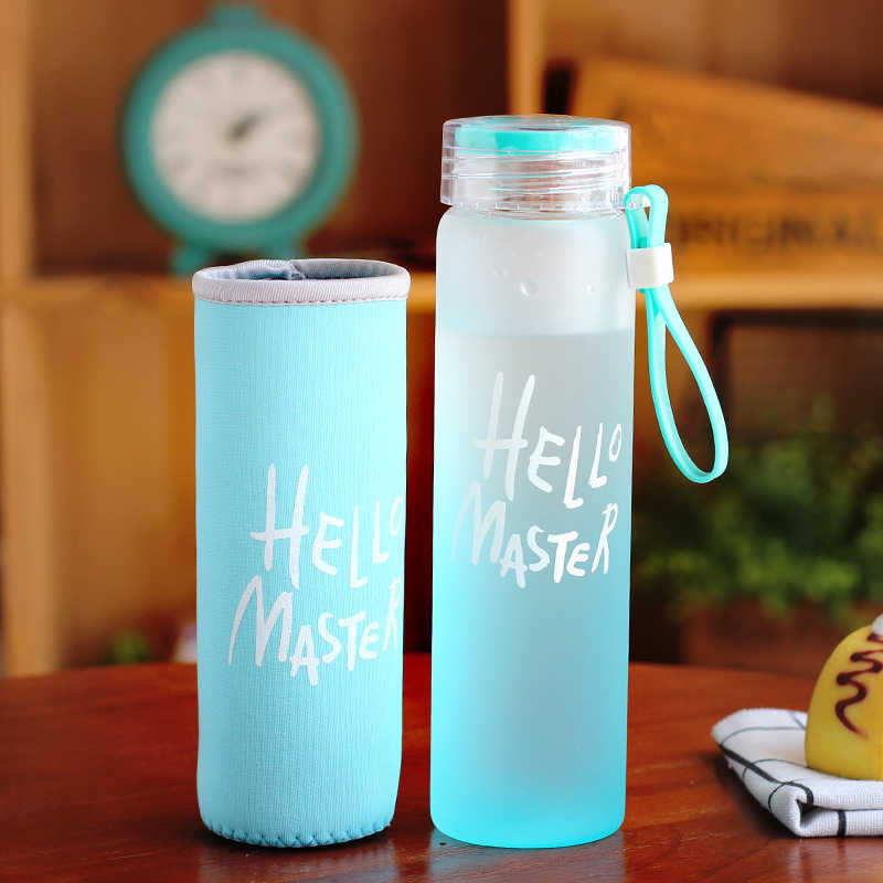 Colorful Glass Water Bottle 480ml My Bottle Sport Bottles Outdoor Travel Hiking Climbing Glass Drink Bottle For Water With Rope