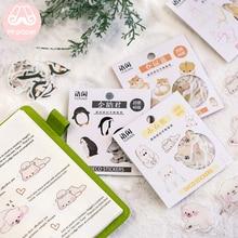 Mr.paper 50Pcs/box 8 Designs Japanese Kawaii Stickers Scrapbooking Cute Pet Series Planner Diary DIY Deco Stationery