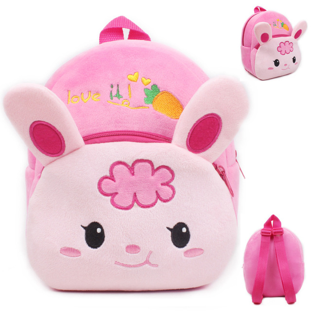 New girls pink schoolbag Cartoon design lovely Mickey Minnie plush backpack for kids 2
