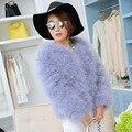 2016 high quality hot sale sweetangel new winter coat elegent real fur coat Ostrich hair in women Slim big yards coat  fur coat