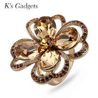 K S Gadgets Green Brown Austrian Crystal Engagement Ring Rhinestone Large Flowers Rings For Women Titanium