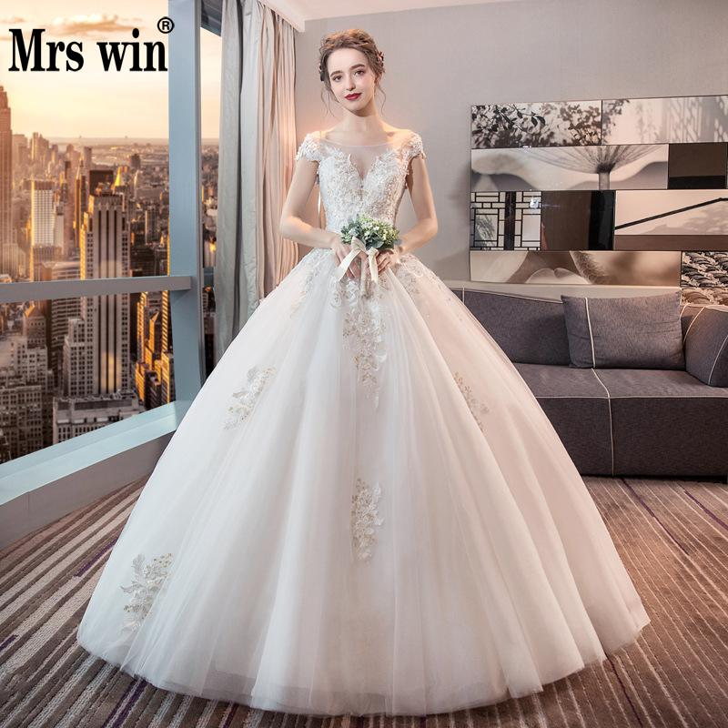 Vestido De Noiva 2020 New Mrs Win The Bridal Elegant Ball Gown Princess Vintage Wedding Dresse Luxury Lace Robe De Mariee F