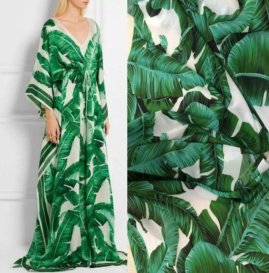 Dg Green Banana Leaf Chiffon Fabrics Satin Fabric For Europe And The