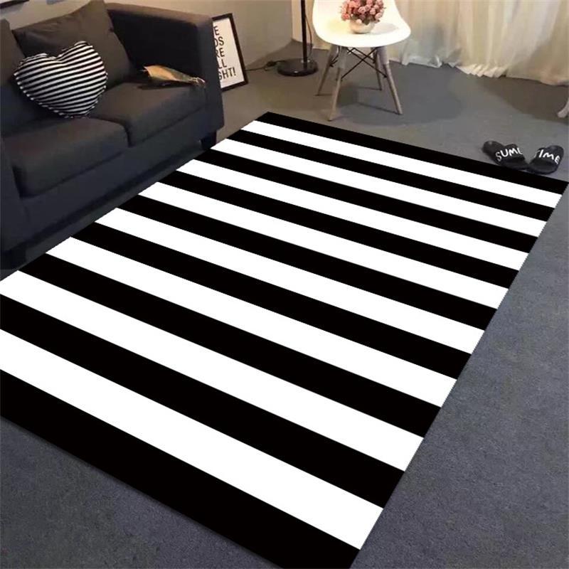 tapis simples noir blanc de rayures pour des tapis et des tapis de chambre a coucher a la maison de salon