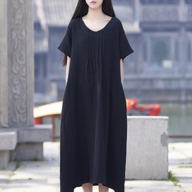 e707725807c Women Cotton Linen Dresses Vintage Plus Size O-neck short sleeve maxi dress  Casual Summer Lady Vestidos large size M-6XL