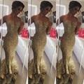 Moda Ouro lantejoulas Mermaid Vestido Longo 2016 Formal Mulheres Vestido De Festa 2015 Hot Sale Vestidos de Noite do baile de Finalistas Do Partido