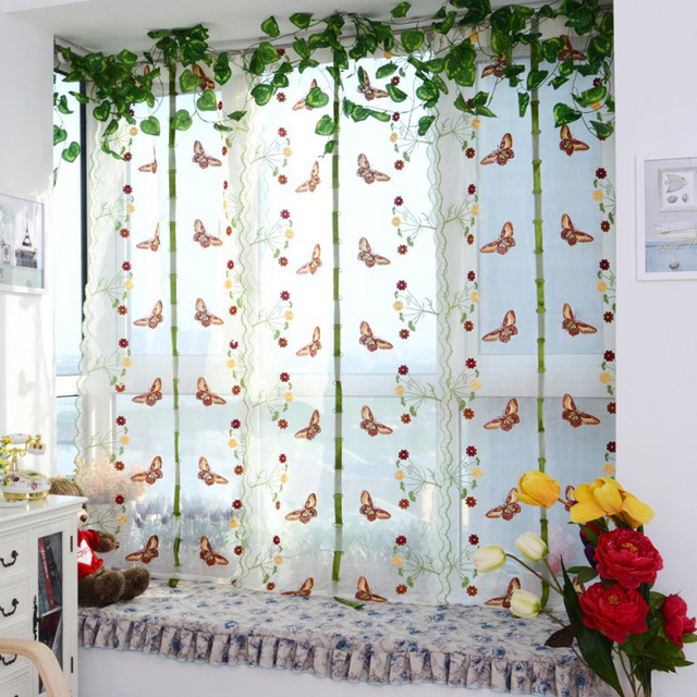 Light Filtering Fabric Fold Roman Shade Butterfly Printed Window ...